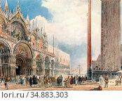 Alt Rudolf Von - Der Markusplatz in Venedig - Austrian School - 19th... Редакционное фото, фотограф Artepics / age Fotostock / Фотобанк Лори