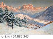Arnegger Alois - Alpine Glow over the Rosengarten - Austrian School... Редакционное фото, фотограф Artepics / age Fotostock / Фотобанк Лори