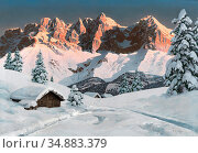 Arnegger Alois - Kaisergebirge Am Morgen - Austrian School - 19th... Редакционное фото, фотограф Artepics / age Fotostock / Фотобанк Лори