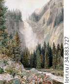 Ender Thomas - a Waterfall in a Forest - Austrian School - 19th Century... Редакционное фото, фотограф Artepics / age Fotostock / Фотобанк Лори