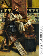 Ernst Rudolf - Studying the Koran 1 - Austrian School - 19th Century. Редакционное фото, фотограф Artepics / age Fotostock / Фотобанк Лори