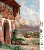 Haunold Carl Franz Emanuel - Scene from the Salzkammergut - Austrian... Редакционное фото, фотограф Artepics / age Fotostock / Фотобанк Лори