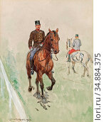 Koch Ludwig - Officer on a Horse 1 - Austrian School - 19th Century. Редакционное фото, фотограф Artepics / age Fotostock / Фотобанк Лори
