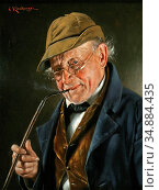 Kronberger Carl - Portrait of a Smoker - Austrian School - 19th Century... Редакционное фото, фотограф Artepics / age Fotostock / Фотобанк Лори