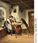 Reichert Carl - Ein Hungriger Gast - Austrian School - 19th Century. Редакционное фото, фотограф Artepics / age Fotostock / Фотобанк Лори