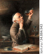Schleicher Carl - the Alchemist - Austrian School - 19th Century. Редакционное фото, фотограф Artepics / age Fotostock / Фотобанк Лори