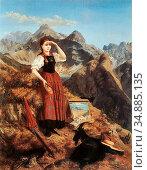 Stainer-Knittel Anna - Selbstportrait in Den Lechtaler Alpen - Austrian... (2020 год). Редакционное фото, фотограф Artepics / age Fotostock / Фотобанк Лори
