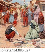 Tschelan Hans - Oriental Market - Austrian School - 19th Century. Редакционное фото, фотограф Artepics / age Fotostock / Фотобанк Лори
