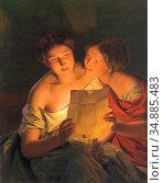 Waldmuller Ferdinand Georg - Der Liebesbrief - Austrian School - ... Редакционное фото, фотограф Artepics / age Fotostock / Фотобанк Лори