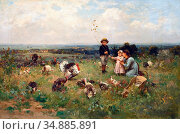 Chialiva Luigi - Children in a Meadow with a Rafter of Turkey - Swiss... Редакционное фото, фотограф Artepics / age Fotostock / Фотобанк Лори