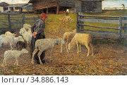 Segantini Giovanni - Ruckkehr in Den Stall - Swiss School - 19th ... Редакционное фото, фотограф Artepics / age Fotostock / Фотобанк Лори