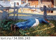 Segantini Giovanni - Ruhe IM Schatten - Swiss School - 19th Century. Редакционное фото, фотограф Artepics / age Fotostock / Фотобанк Лори