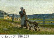 Segantini Giovanni - the Two Mothers 3 - Swiss School - 19th Century. Редакционное фото, фотограф Artepics / age Fotostock / Фотобанк Лори