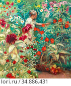 Amiet Cuno - Frau Amiet IM Garten - Swiss School - 19th Century. Редакционное фото, фотограф Artepics / age Fotostock / Фотобанк Лори