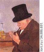 Buri Max Alfred - Man with Pipe - Swiss School - 19th Century. Редакционное фото, фотограф Artepics / age Fotostock / Фотобанк Лори