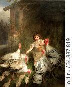 Manes Guido - Girl with Turkeys - Czech Republic and Slovakia School... Редакционное фото, фотограф Artepics / age Fotostock / Фотобанк Лори