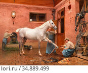 Meyer Emile - Caring for Hooves in the Stable - French School - 19th... Редакционное фото, фотограф Artepics / age Fotostock / Фотобанк Лори