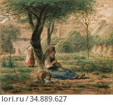 Millet Jean-François - in the Garden - French School - 19th and Early... Редакционное фото, фотограф Artepics / age Fotostock / Фотобанк Лори
