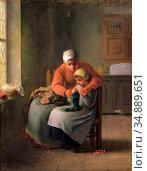 Millet Jean-François - Knitting Lesson 3 - French School - 19th and... Редакционное фото, фотограф Artepics / age Fotostock / Фотобанк Лори