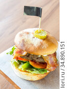 Angus beef Cheese hamburger with french fries. Стоковое фото, фотограф Vichaya Kiatying-Angsulee / easy Fotostock / Фотобанк Лори