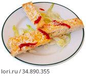 Pastel de verano - delicious summer cake with sliced bread, ham, cheese, surimi, mayonnaise. Стоковое фото, фотограф Яков Филимонов / Фотобанк Лори