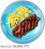 Grilled lamb with french fries, homemade dinner. Стоковое фото, фотограф Яков Филимонов / Фотобанк Лори