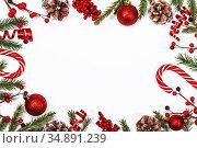 Christmas background with decoration. Стоковое фото, фотограф Иван Михайлов / Фотобанк Лори