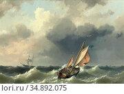 Koekkoek II Hermanus - Shipping off the Coast of Texel - Dutch School... Редакционное фото, фотограф Artepics / age Fotostock / Фотобанк Лори