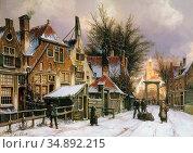 Koekkoek Willem - a Townview with Figures on a Snow Covered Street... Редакционное фото, фотограф Artepics / age Fotostock / Фотобанк Лори