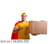 Super hero delivery guy isolated on white. Стоковое фото, фотограф Elnur / Фотобанк Лори