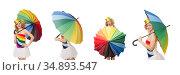 Woman with colorful umbrella on white. Стоковое фото, фотограф Elnur / Фотобанк Лори