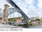 Maria Pia Bridge over the river Duoro in Porto, Portugal, built in 1877 and attributed to Gustave Eiffel (2018 год). Стоковое фото, фотограф Сергей Фролов / Фотобанк Лори