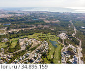 Aerial photo of golf fields. Costa Blanca, Spain. Стоковое фото, фотограф Alexander Tihonovs / Фотобанк Лори