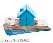 Домик разборный голубой стоит на пачке денег. Покупка собственной недвижимости. Стоковое фото, фотограф Элина Гаревская / Фотобанк Лори