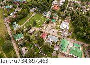 Aerial view of Spaso-Preobrazhensky cathedral in Pereslavl-Zalessky. Стоковое фото, фотограф Яков Филимонов / Фотобанк Лори