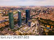 Business skyscrapers Cuatro Torres in Madrid. Стоковое фото, фотограф Яков Филимонов / Фотобанк Лори