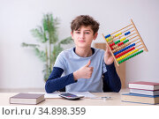 Schoolboy with abacus studying math at home. Стоковое фото, фотограф Elnur / Фотобанк Лори