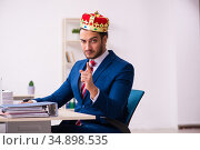 Young king businessman employee working in the office. Стоковое фото, фотограф Elnur / Фотобанк Лори