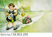 Старинная немецкая пасхальная довоенная открытка. Редакционная иллюстрация, иллюстратор Мария Кылосова / Фотобанк Лори