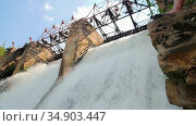 Water dam - heavy river water stream falls down - beautiful nature. Стоковое видео, видеограф Константин Шишкин / Фотобанк Лори