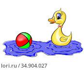 Утёнок с мячиком. Стоковая иллюстрация, иллюстратор Александр Княжецкий / Фотобанк Лори