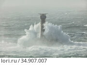 Longships Lighthouse battered by waves during Storm Ciara. Land's End, Cornwall, England, UK. February 2020. Стоковое фото, фотограф Guy Edwardes / Nature Picture Library / Фотобанк Лори