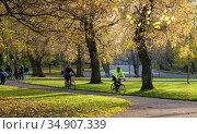 Walkers and cycylists in Kelvingrove Park, Glasgow, Scotland, UK. November. Стоковое фото, фотограф Niall Benvie / Nature Picture Library / Фотобанк Лори