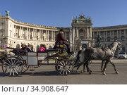 Fiaker vor der Neuen Burg, Teil der Wiener Hofburg in Wien, Österreich... Стоковое фото, фотограф Peter Schickert / age Fotostock / Фотобанк Лори