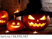 Jack O Lantern Halloween pumpkin. Стоковое фото, фотограф Иван Михайлов / Фотобанк Лори