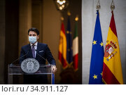 Italian Prime Minister Giuseppe Conte participates in a joint press... Редакционное фото, фотограф Serrano/AGF/Alessandro Serrano' / AGF / age Fotostock / Фотобанк Лори