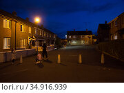 Great Britain, Derry - Workers' settlement in the catholic district of Bogside (2019 год). Редакционное фото, агентство Caro Photoagency / Фотобанк Лори