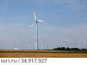 Wind turbine, Linnich, North Rhine-Westphalia, Germany. Редакционное фото, агентство Caro Photoagency / Фотобанк Лори