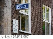 Essen Police Headquarters, Muelheim Police Station, Ruhr Area, North Rhine-Westphalia, Germany. Редакционное фото, агентство Caro Photoagency / Фотобанк Лори