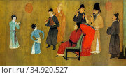 'The Night Revels of Han Xizai' is a painted scroll depicting Han... (2016 год). Редакционное фото, фотограф Pictures From History / age Fotostock / Фотобанк Лори